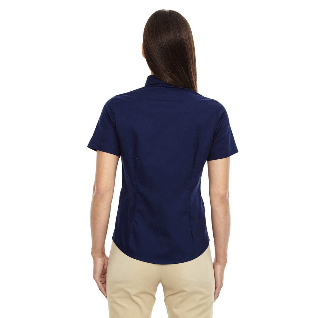 Core 365 Women's Classic Navy Optimum Short-Sleeve Twill Shirt