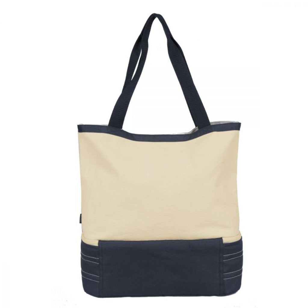 Gemline Navy Blue/Natural Coastal Cotton Insulated Tote