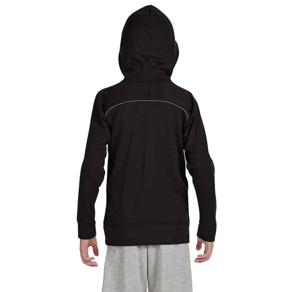 Russell Athletic Youth Black/Steel Tech Fleece Pullover Hood