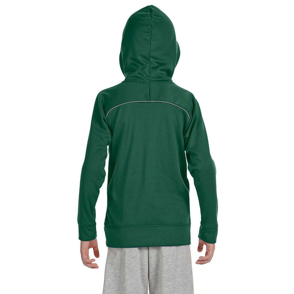 Russell Athletic Youth Dark Green/Steel Tech Fleece Pullover Hood