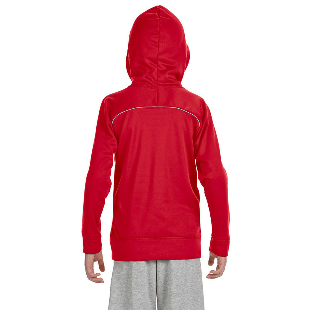 Russell Athletic Youth True Red/Steel Tech Fleece Pullover Hood