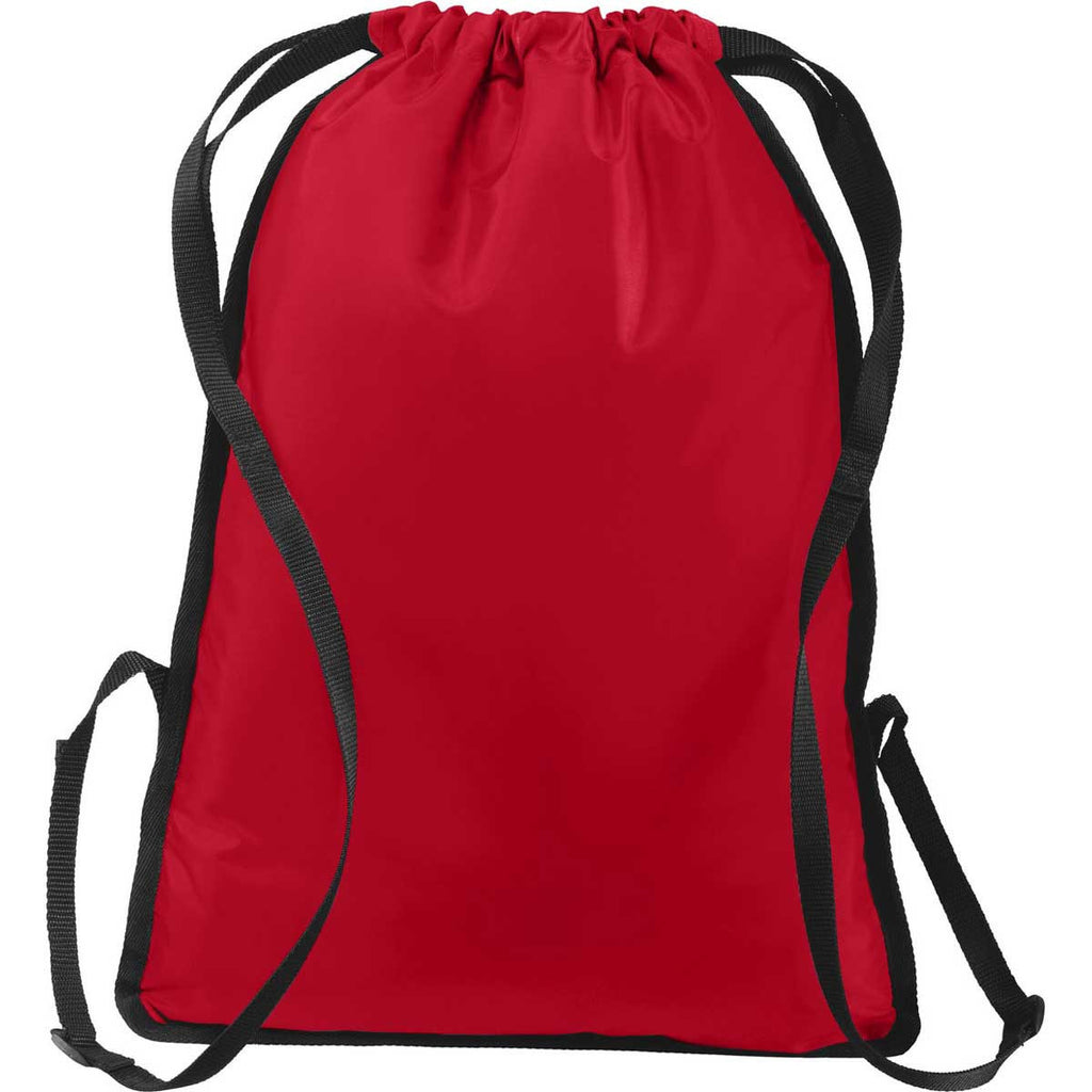 Port Authority True Red/Black Zip-It Cinch Pack