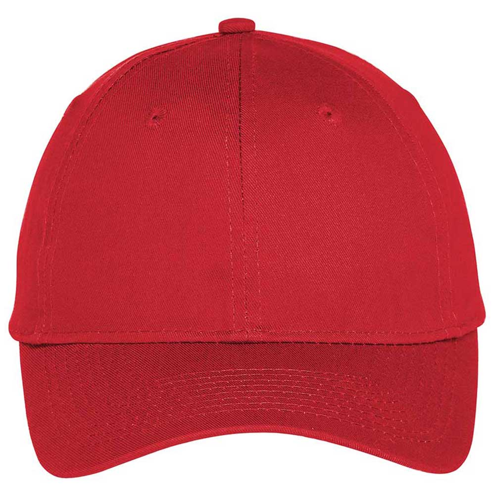Port Authority True Red Six-Panel Unstructured Twill Cap
