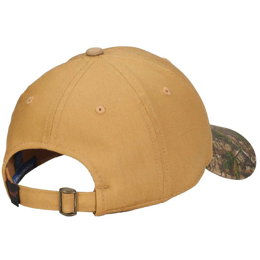 Port Authority Tan/Realtree Xtra Twill Cap with Camouflage Brim