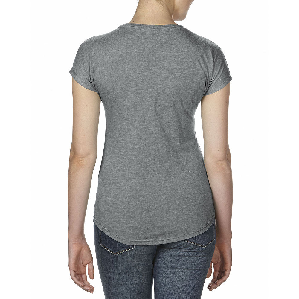 Anvil Women's Heather Graphite Triblend V-Neck Tee