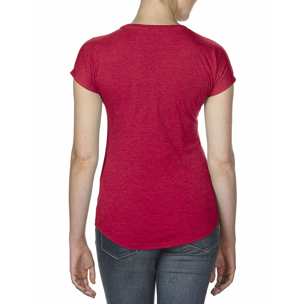 Anvil Women's Heather Red Triblend V-Neck Tee