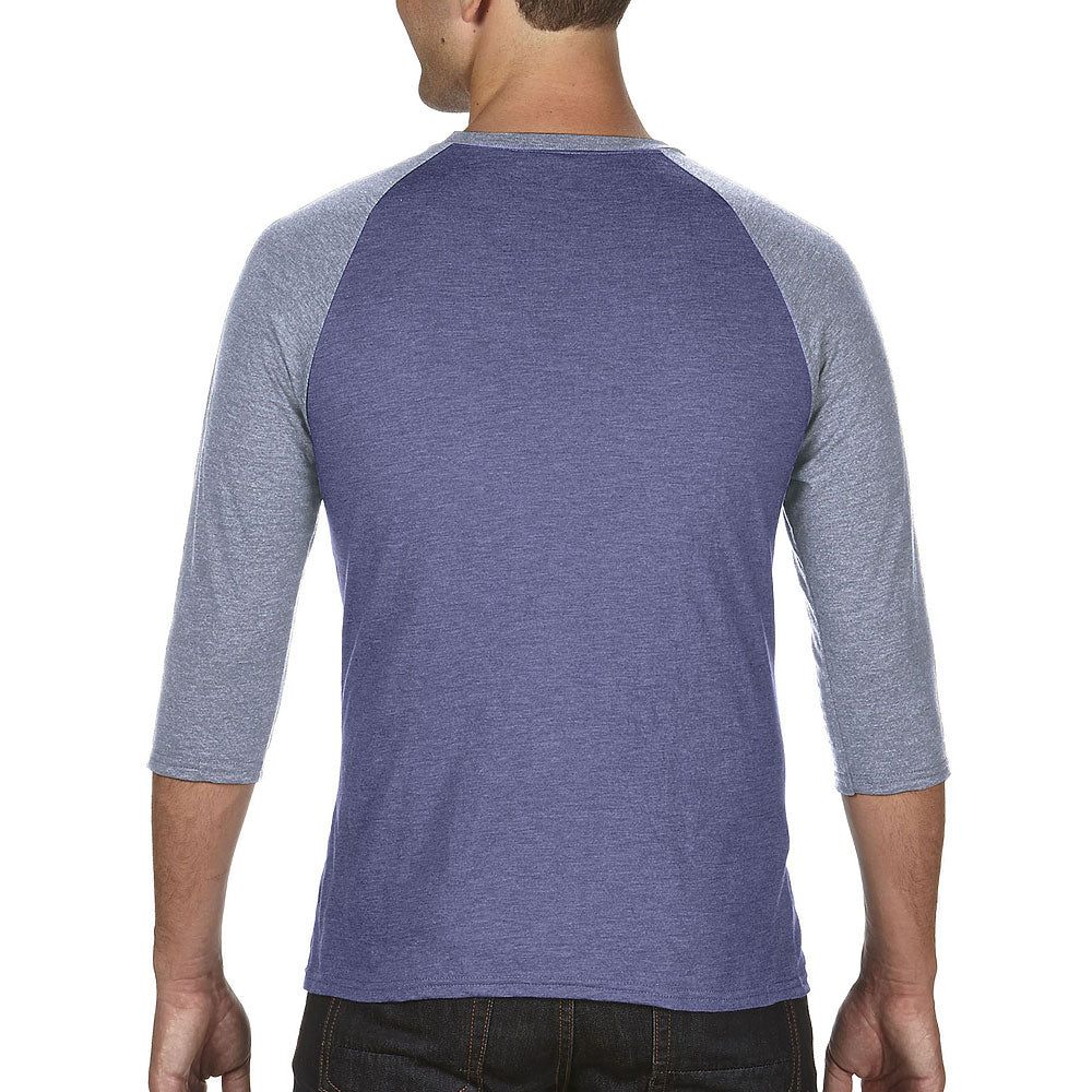 Anvil Men's Heather Blue/Heather Grey Triblend 3/4 Raglan Sleeve