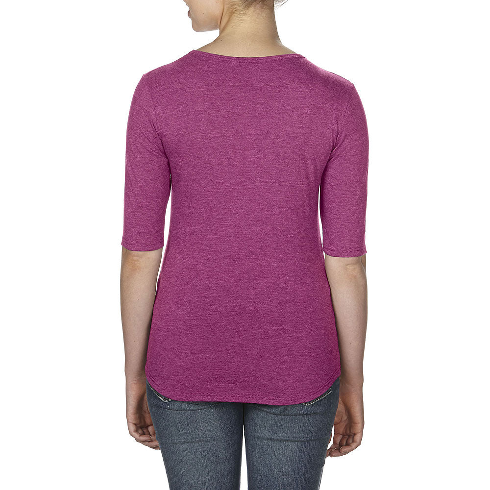 Anvil Women's Heather Raspberry Triblend Deep Scoop Neck Half-Sleeve