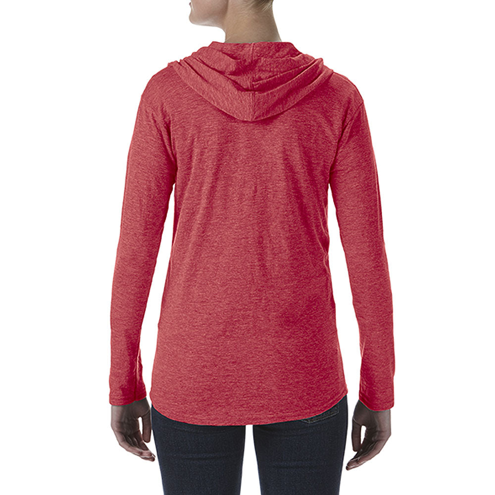 Anvil Women's Heather Red Triblend Full Zip Hooded Jacket