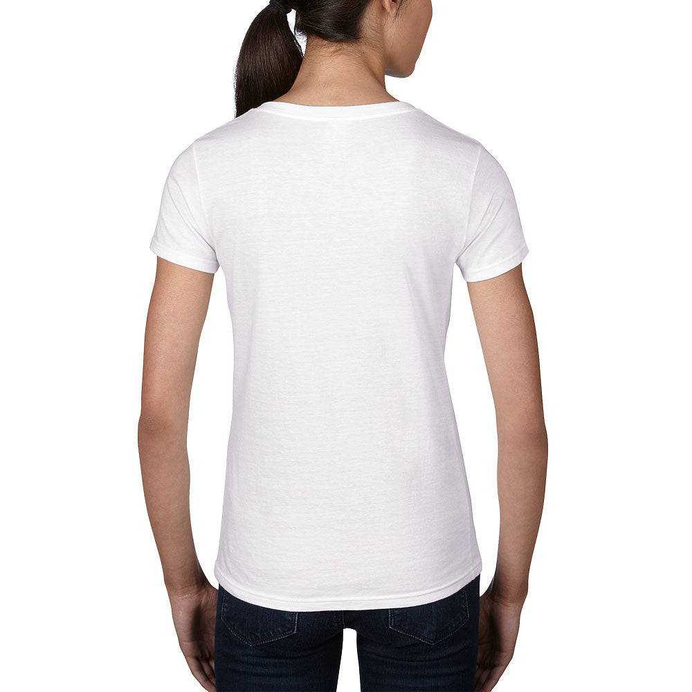 Anvil Women's White Lightweight V-Neck Tee