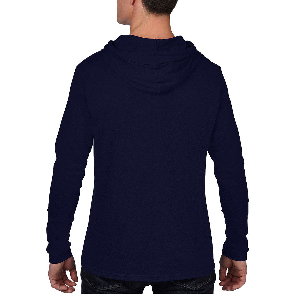 Anvil Men's Navy/Dark Grey Lightweight Long Sleeve Hooded Tee