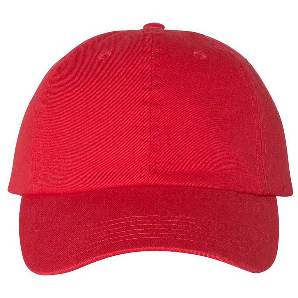 Champion Bright Red Scarlet Washed Twill Dad Hat
