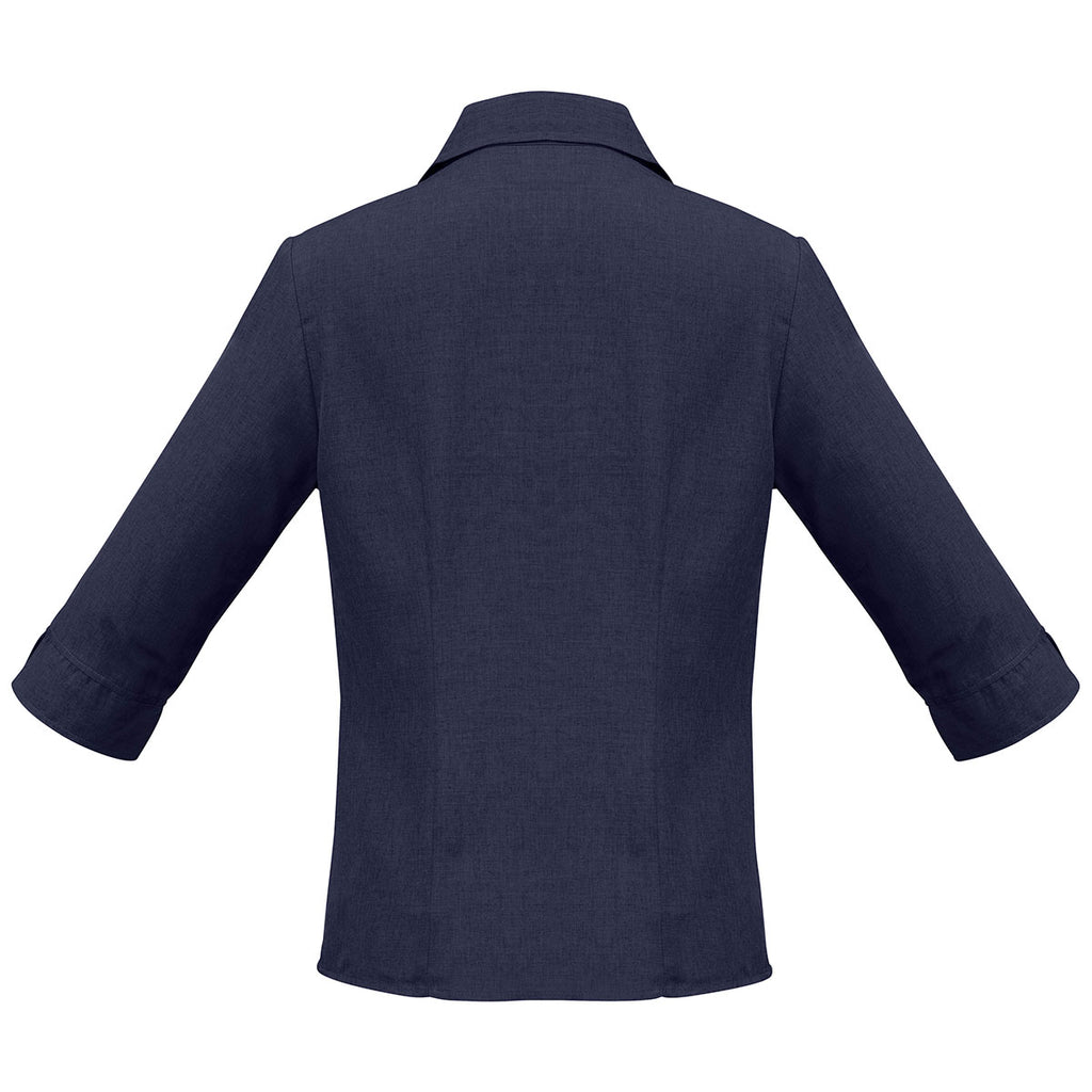 Biz Collection Women's Navy Plain Oasis 3/4 Sleeve Shirt