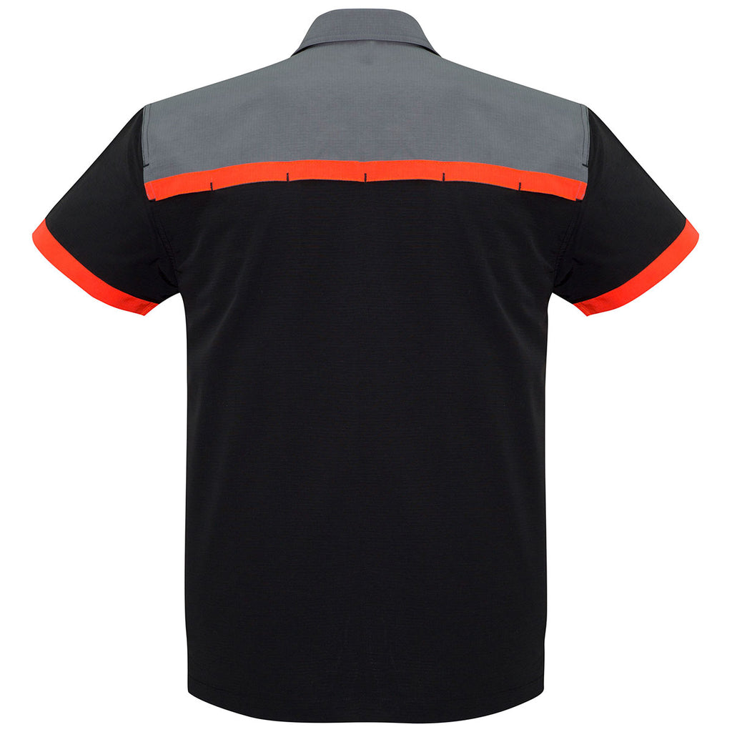 Biz Collection Men's Black/Fluoro Orange/Grey Charger Shirt