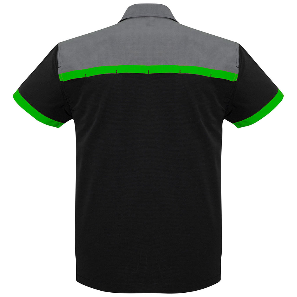 Biz Collection Men's Black/Green/Grey Charger Shirt