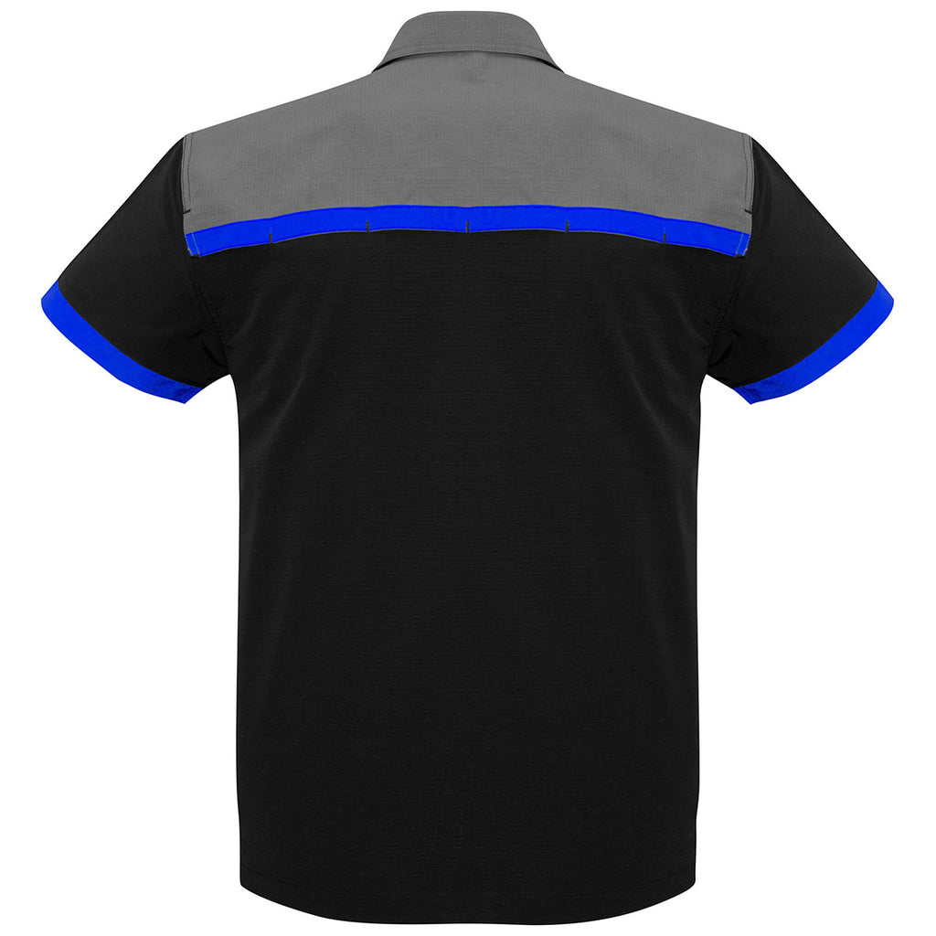 Biz Collection Men's Black/Royal/Grey Charger Shirt