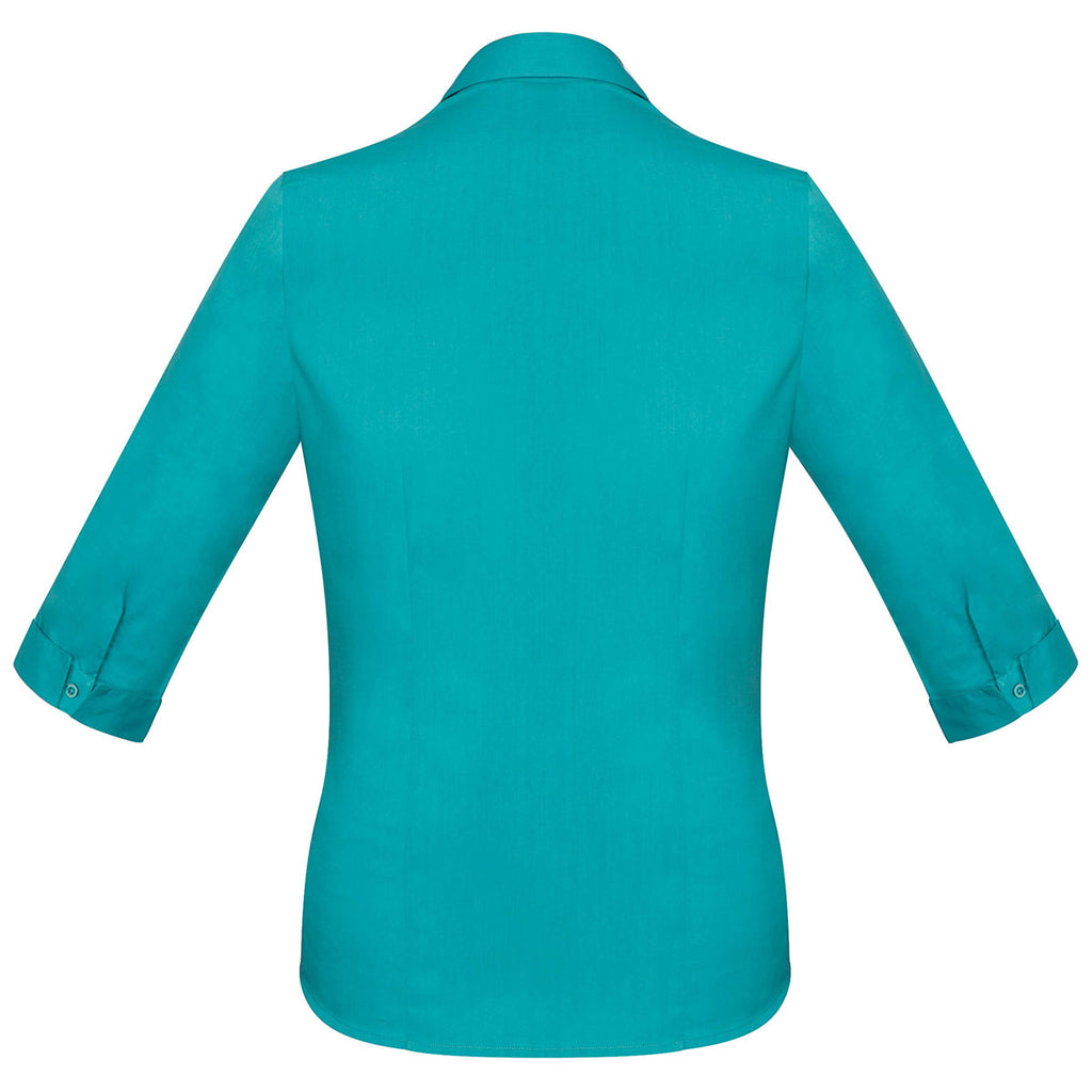 Biz Collection Women's Teal Monaco 3/4 Sleeve Shirt
