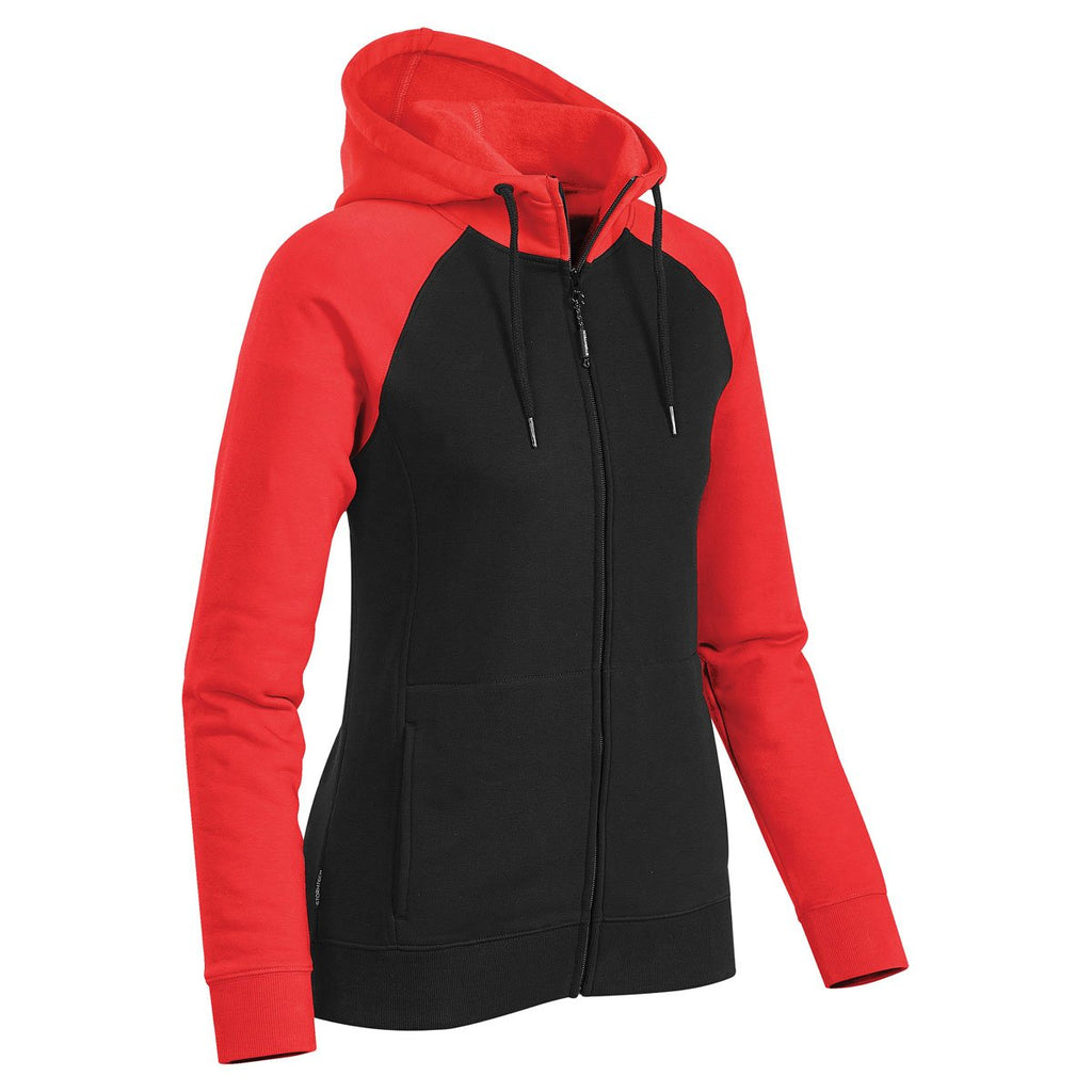Stormtech Women's Black/Bright Red Omega Two-Tone Zip Hoody