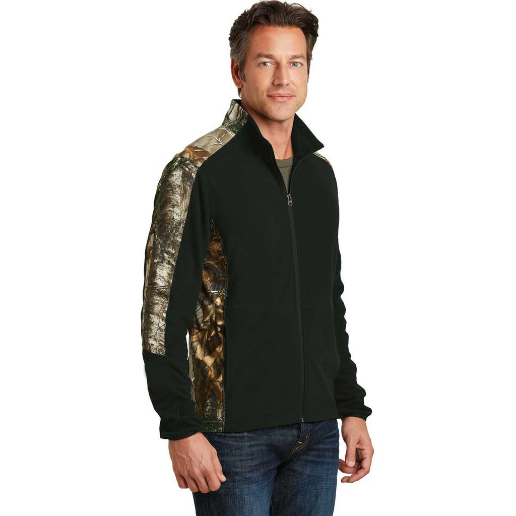 Port Authority Men's Black/Realtree Xtra Camouflage Microfleece Full-Zip Jacket