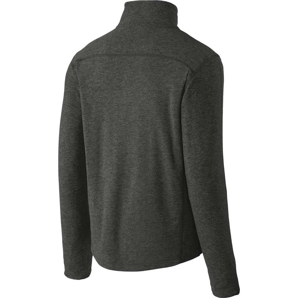 Port Authority Men's Black Charcoal Heather Microfleece 1/2-Zip Pullover