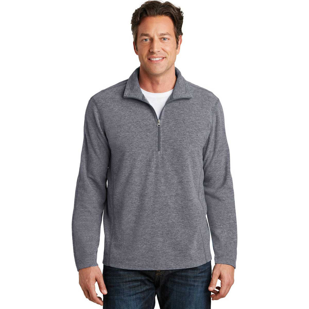 Port Authority Men's True Navy Heather Microfleece 1/2-Zip Pullover