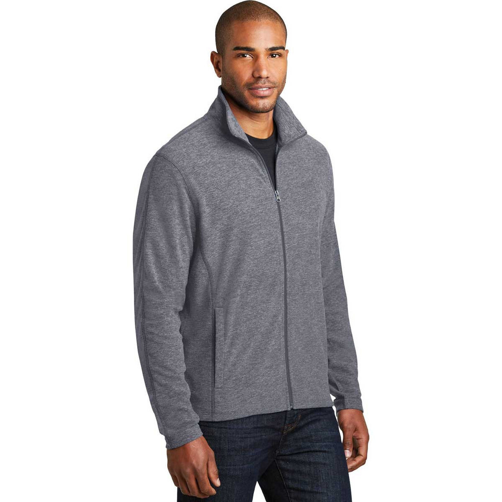 Port Authority Men's True Navy Heather Microfleece Full-Zip Jacket