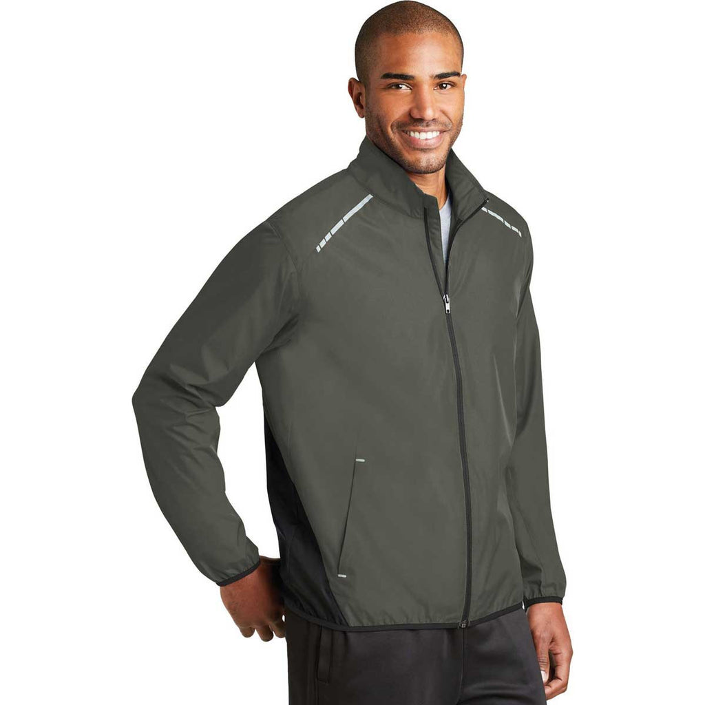 Port Authority Men's Grey Steel/Deep Black Zephyr Reflective Hit Full-Zip Jacket