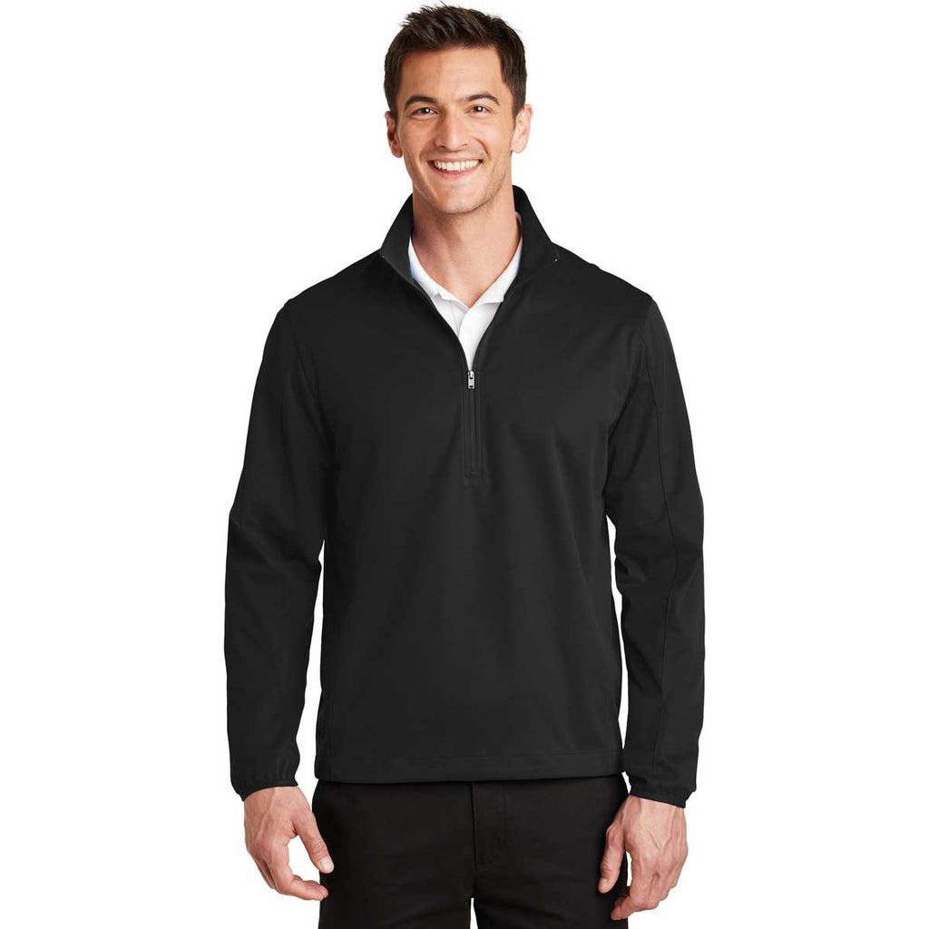 Port Authority Men's Deep Black Active 1/2-Zip Soft Shell Jacket