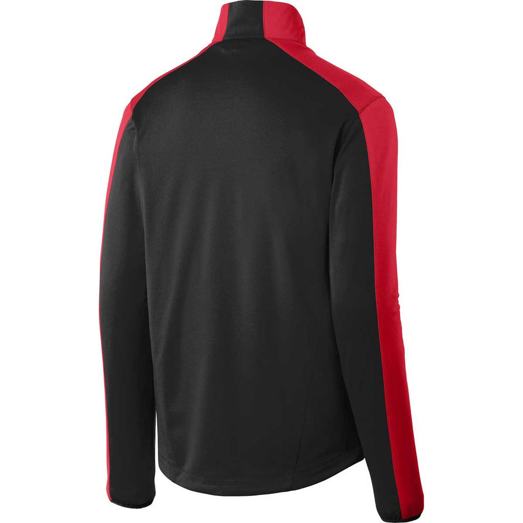 Port Authority Men's Deep Black/Rich Red Active Colorblock Soft Shell Jacket
