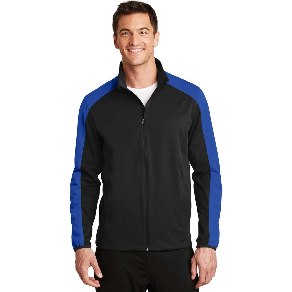 Port Authority Men's Deep Black/True Royal Active Colorblock Soft Shell Jacket