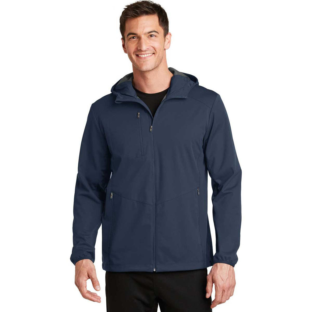 Port Authority Men's Dress Blue Navy Active Hooded Soft Shell Jacket