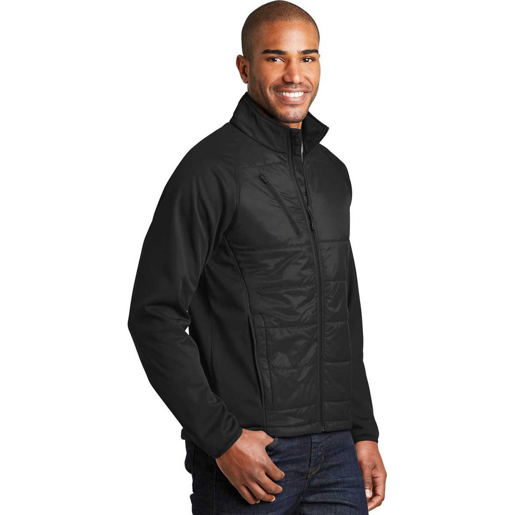 Port Authority Men's Deep Black Hybrid Soft Shell Jacket