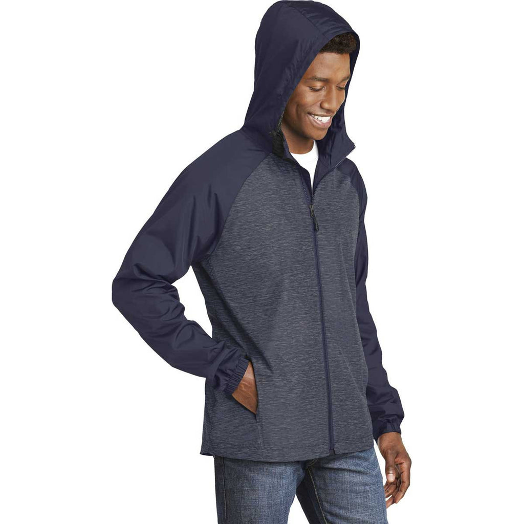 Sport-Tek Men's True Navy Heather/True Navy Colorblock Raglan Hooded Wind Jacket