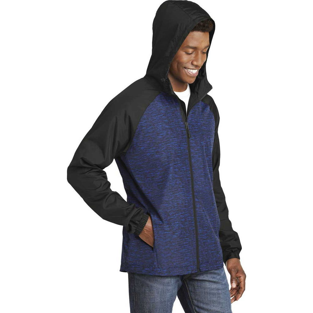 Sport-Tek Men's True Royal Heather/Black Colorblock Raglan Hooded Wind Jacket
