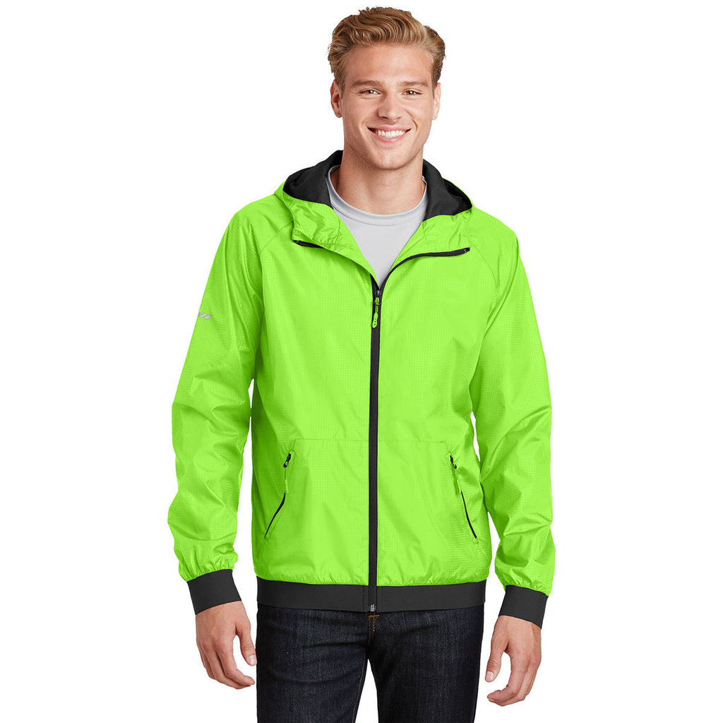Sport-Tek Men's Lime Shock/Black Embossed Hooded Wind Jacket