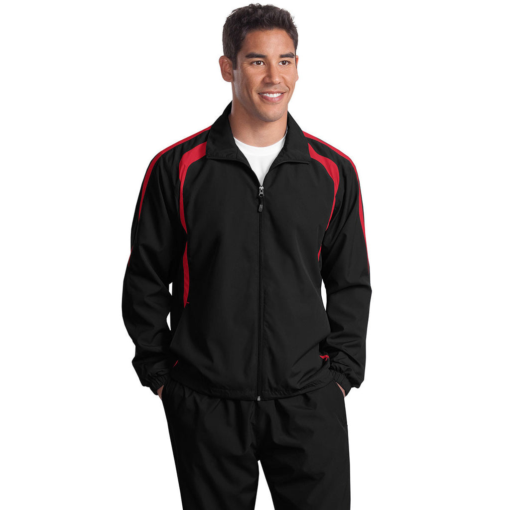 Sport-Tek Men's Black/True Red Colorblock Raglan Jacket