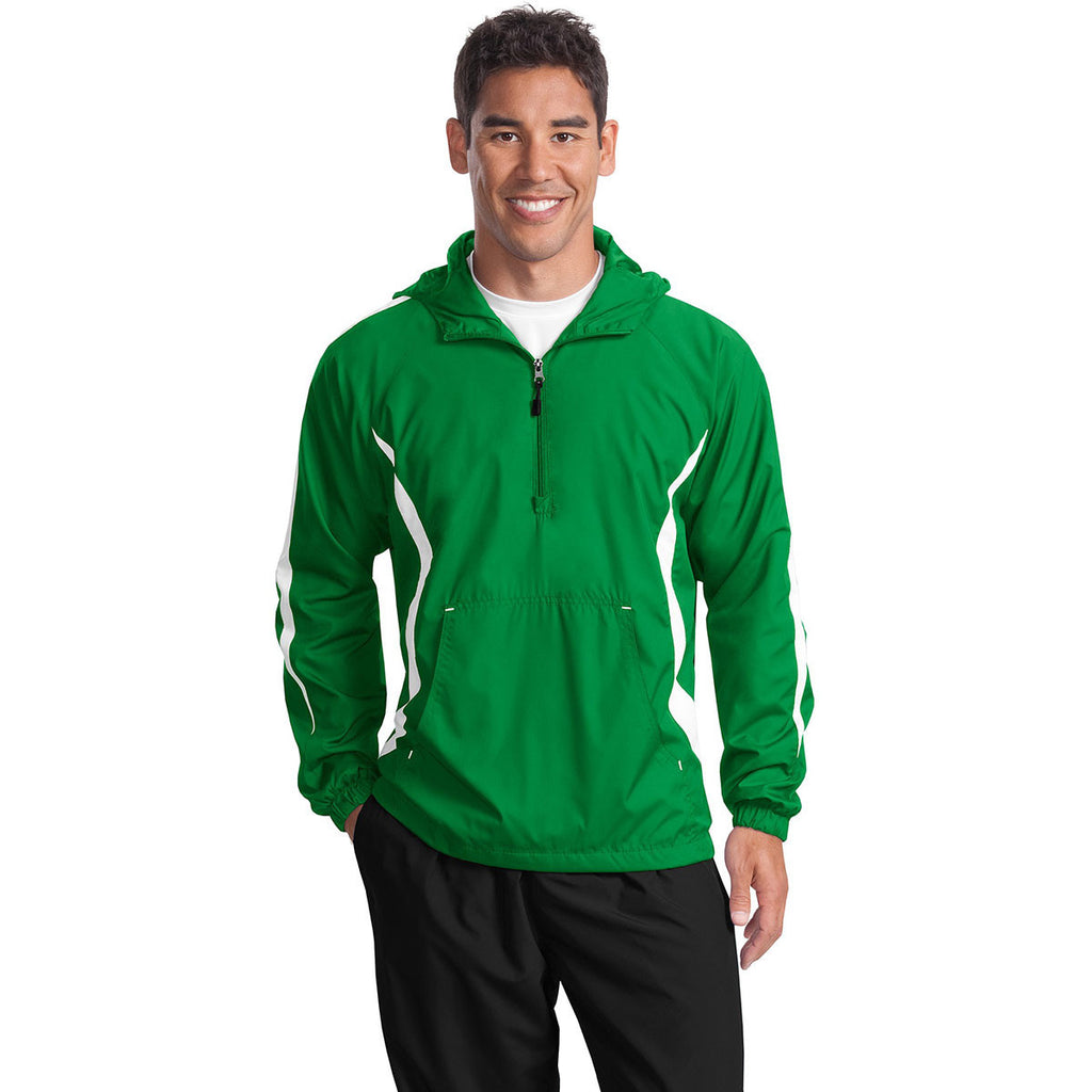 Sport-Tek Men's Kelly Green/White Colorblock Raglan Anorak