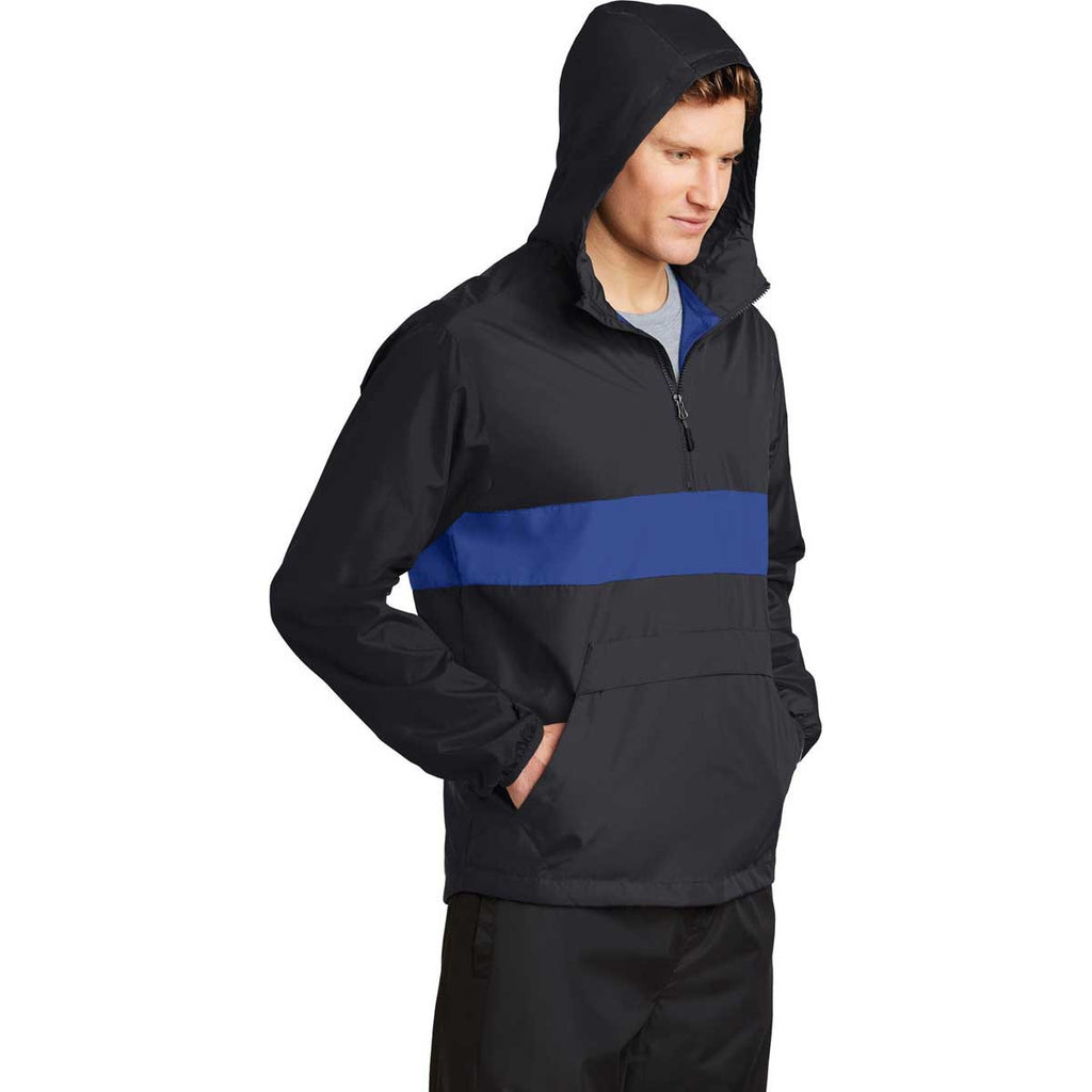 Sport-Tek Men's Black/True Royal Zipped Pocket Anorak