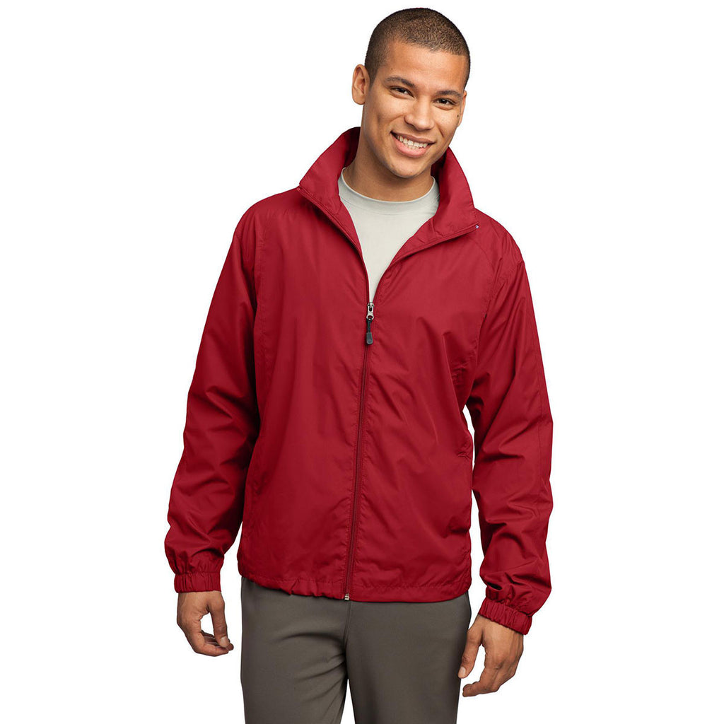 Sport-Tek Men's True Red Full-Zip Wind Jacket