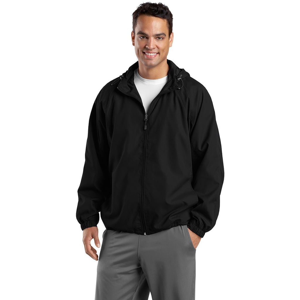 Sport-Tek Men's Black Hooded Raglan Jacket