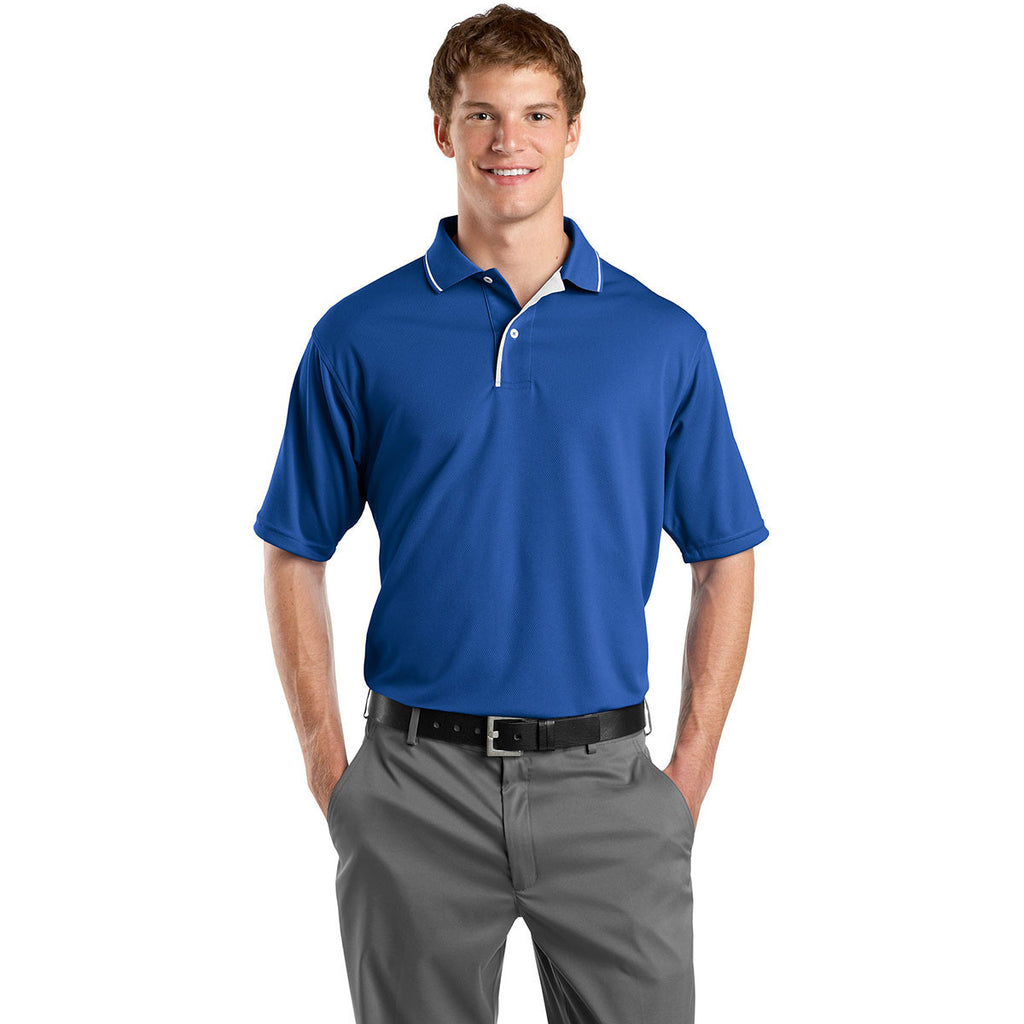Sport-Tek Men's Royal/White Dri-Mesh Polo with Tipped Collar and Piping