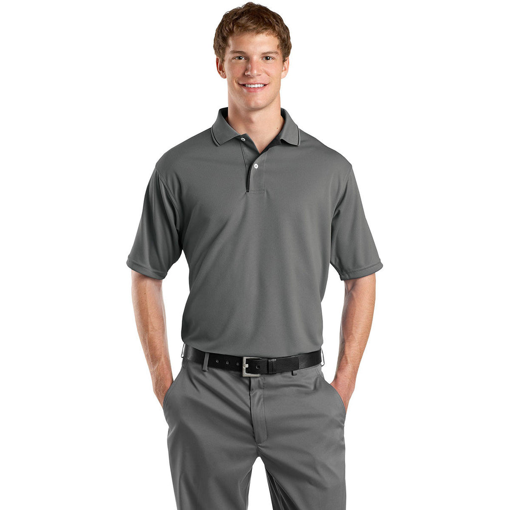 Sport-Tek Men's Steel/Black Dri-Mesh Polo with Tipped Collar and Piping