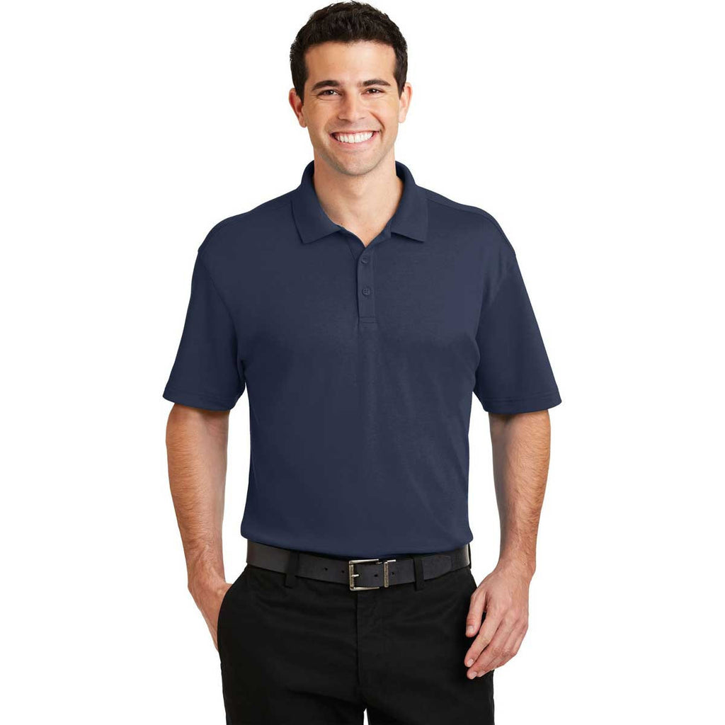 Port Authority Men's Navy Silk Touch Interlock Performance Polo