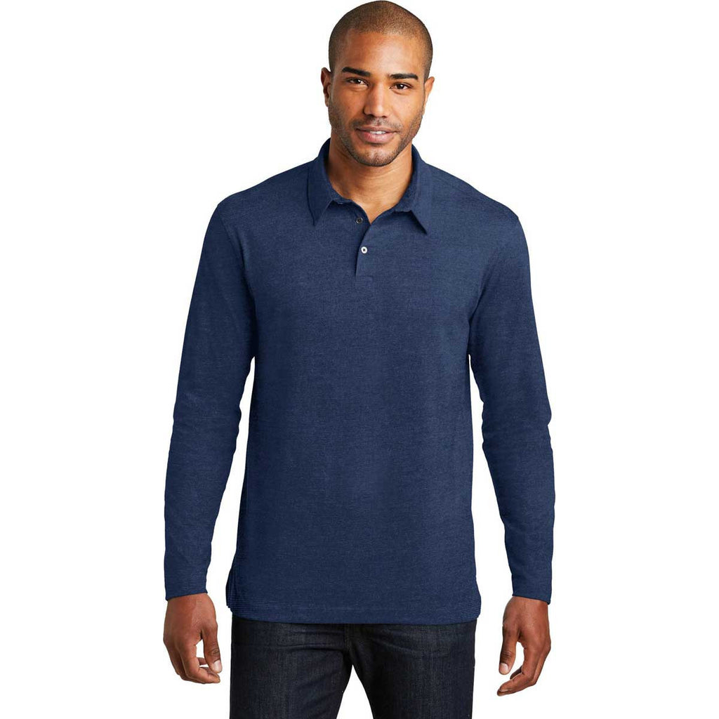 Port Authority Men's Estate Blue Long Sleeve Meridian Cotton Blend Polo