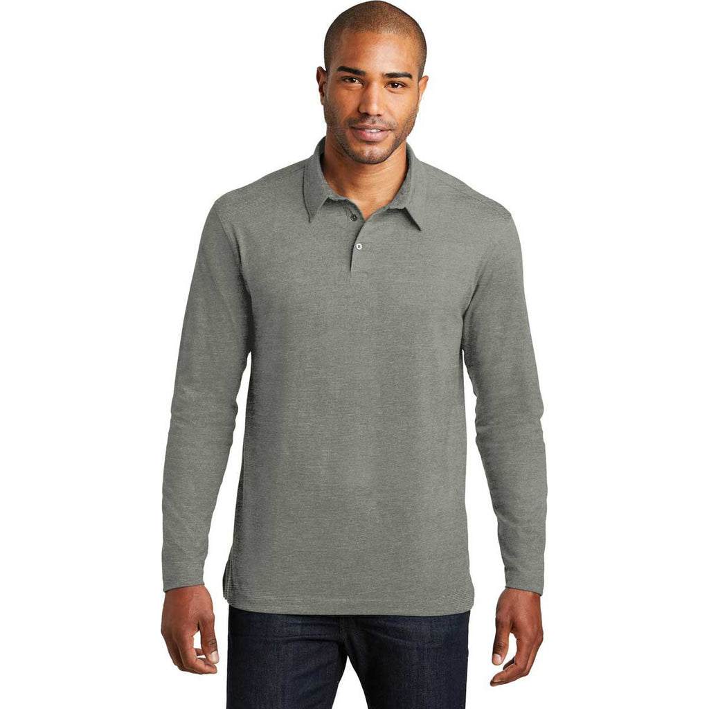 Port Authority Men's Monument Grey Long Sleeve Meridian Cotton Blend Polo
