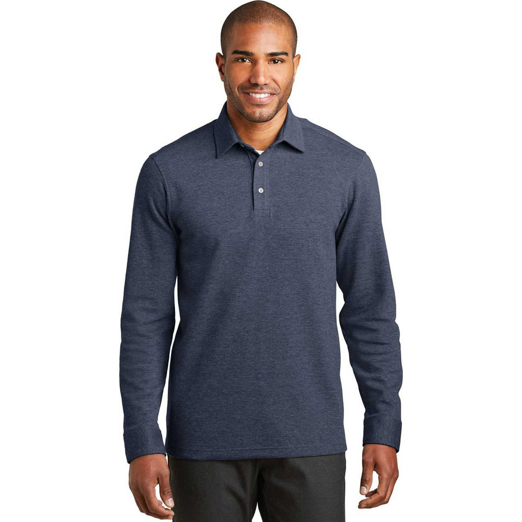 Port Authority Men's Estate Blue Heather/Charcoal Heather Interlock Polo Cover-Up