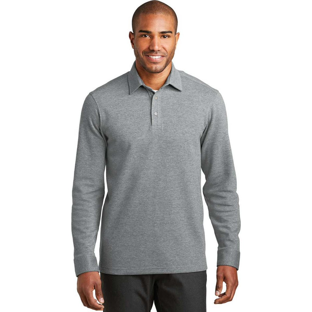 Port Authority Men's Medium Grey Heather/Charcoal Heather Interlock Polo Cover-Up