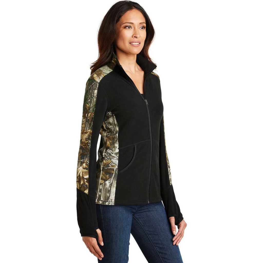 Port Authority Women's Black/Realtree Xtra Camouflage Microfleece Full-Zip Jacket