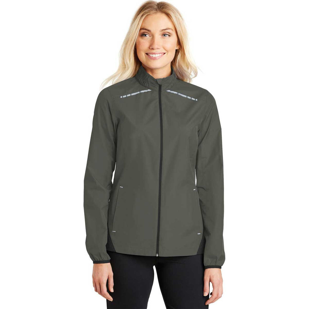 Port Authority Women's Grey Steel/Deep Black Zephyr Reflective Hit Full-Zip Jacket