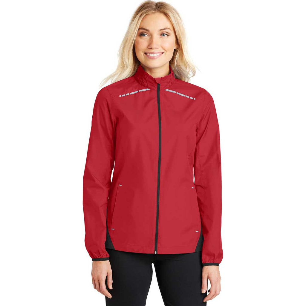 Port Authority Women's Rich Red/Deep Black Zephyr Reflective Hit Full-Zip Jacket